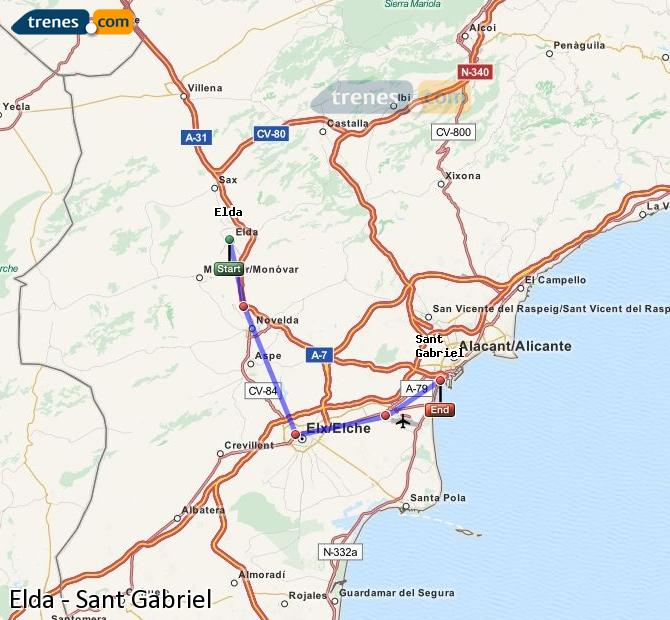 Karte vergrößern Züge Elda Sant Gabriel