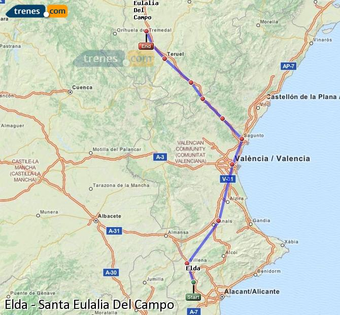 Ampliar mapa Comboios Elda Santa Eulalia Del Campo