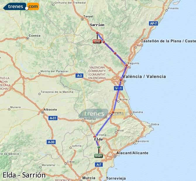 Ampliar mapa Trenes Elda Sarrión