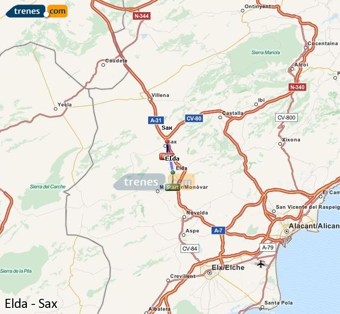 Ingrandisci la mappa Treni Elda Sax