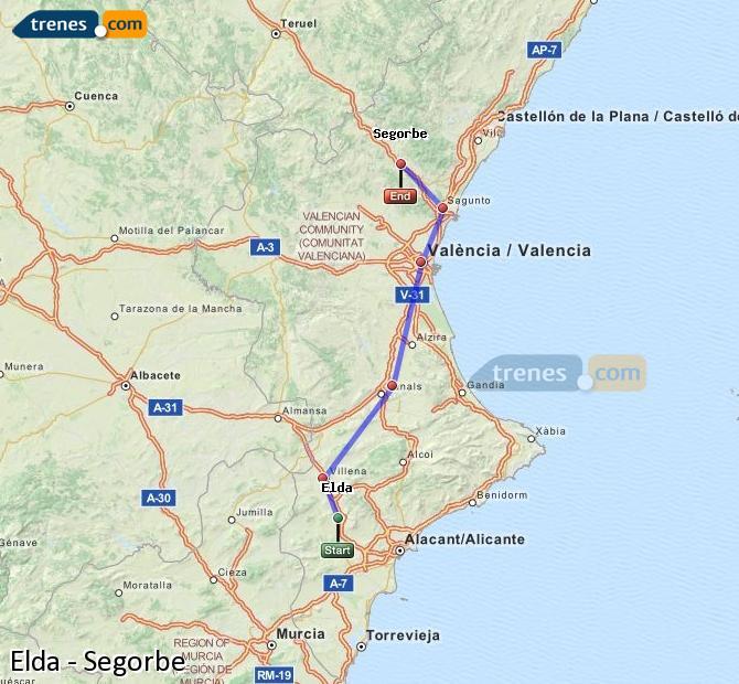 Ampliar mapa Trenes Elda Segorbe
