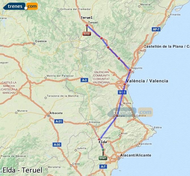 Enlarge map Trains Elda to Teruel