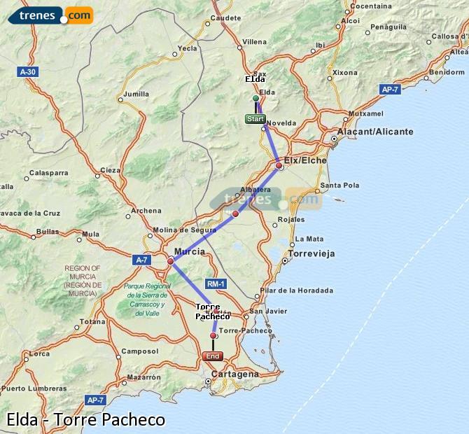 Karte vergrößern Züge Elda Torre Pacheco