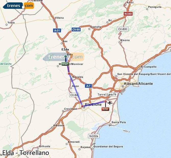 Agrandir la carte Trains Elda Torrellano