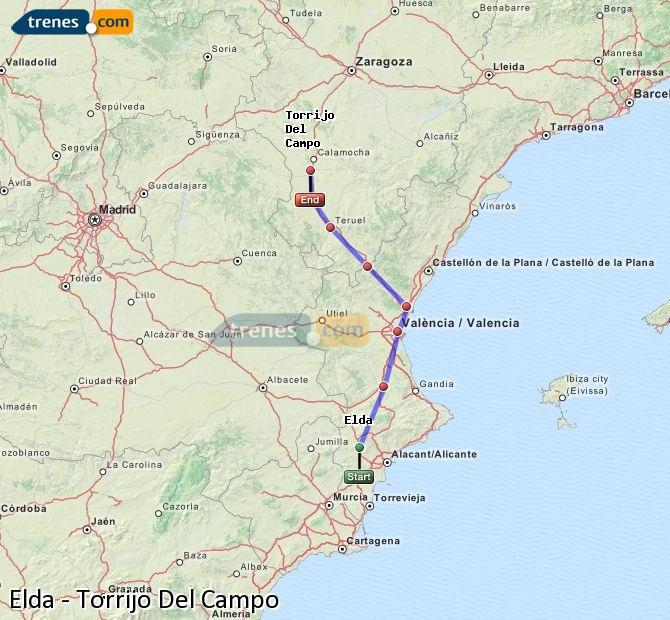 Ingrandisci la mappa Treni Elda Torrijo Del Campo