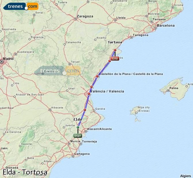 Enlarge map Trains Elda to Tortosa
