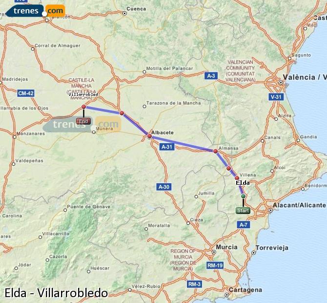 Ingrandisci la mappa Treni Elda Villarrobledo