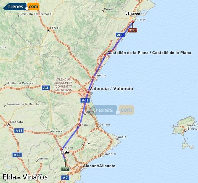 Karte vergrößern Züge Elda Vinaròs