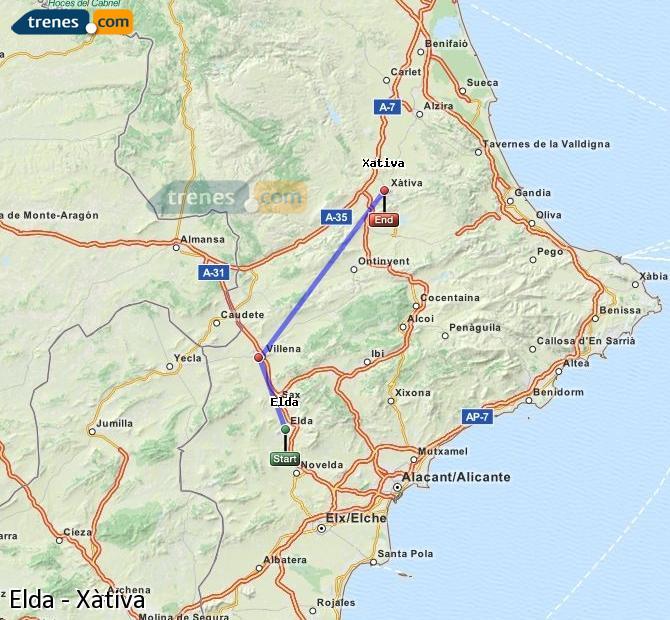 Enlarge map Trains Elda to Xativa