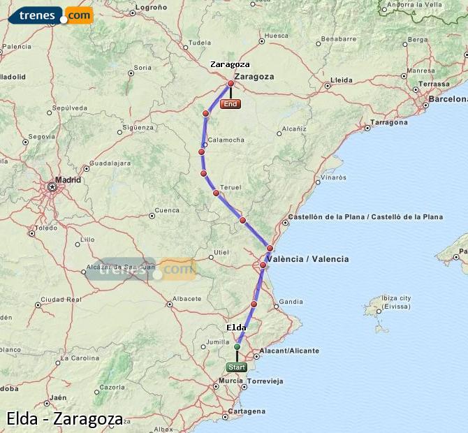 Karte vergrößern Züge Elda Zaragoza