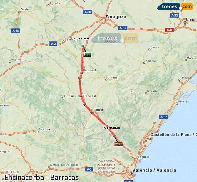 Ingrandisci la mappa Treni Encinacorba Barracas
