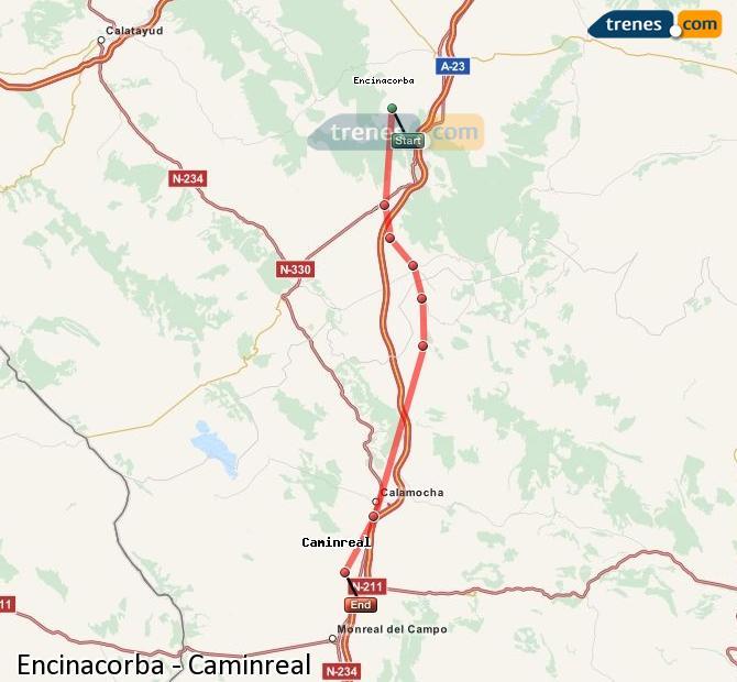 Agrandir la carte Trains Encinacorba Caminreal