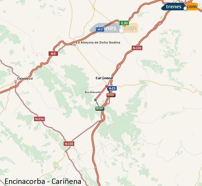 Ampliar mapa Comboios Encinacorba Cariñena