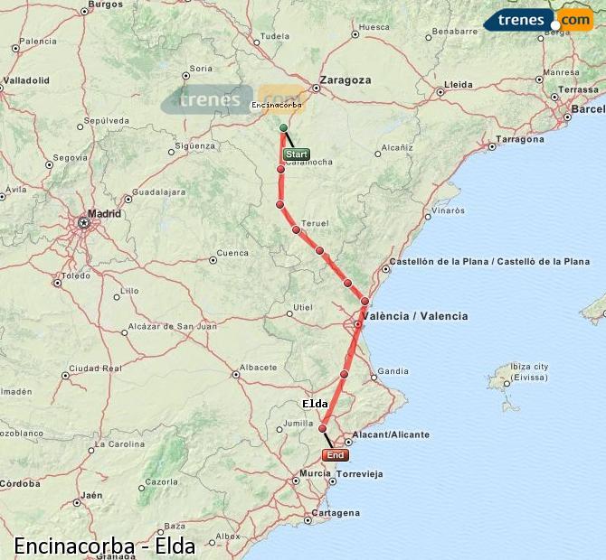 Karte vergrößern Züge Encinacorba Elda