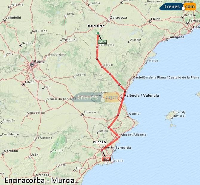 Agrandir la carte Trains Encinacorba Murcia