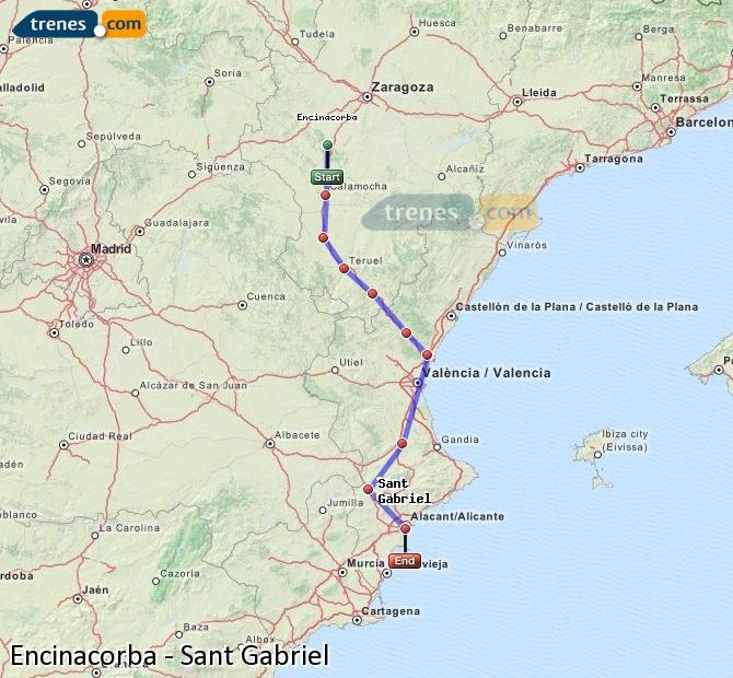 Ampliar mapa Comboios Encinacorba Sant Gabriel