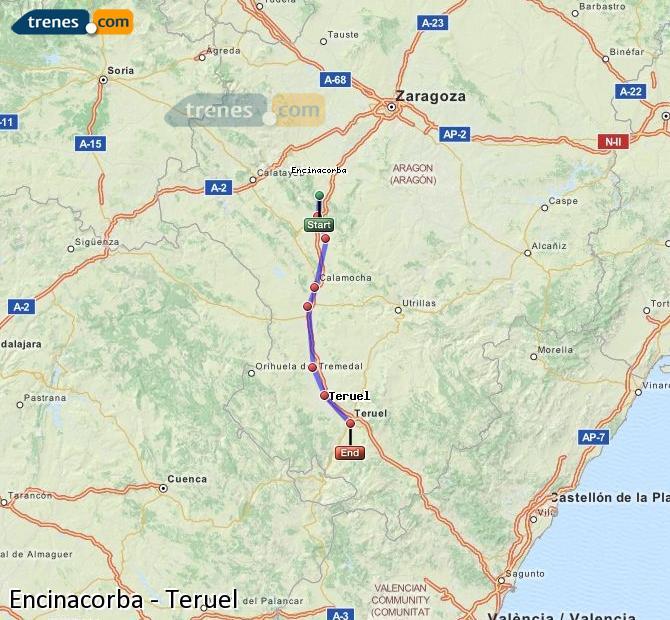 Agrandir la carte Trains Encinacorba Teruel