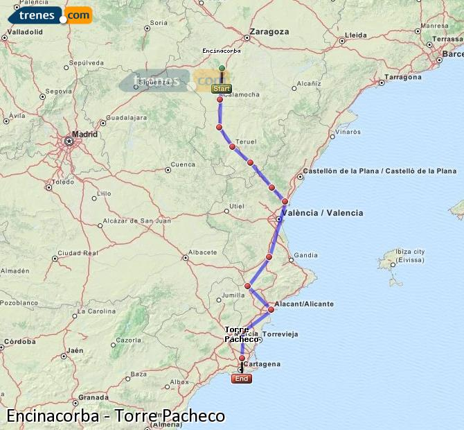 Enlarge map Trains Encinacorba to Torre Pacheco