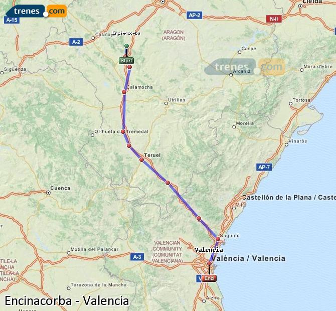 Enlarge map Trains Encinacorba to Valencia