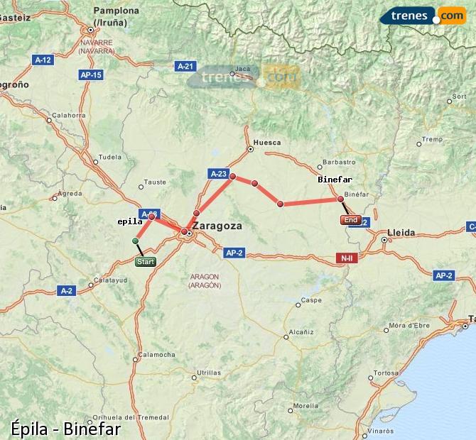 Ingrandisci la mappa Treni Épila Binefar