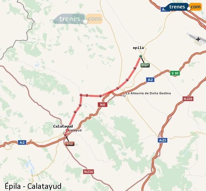 Karte vergrößern Züge Épila Calatayud