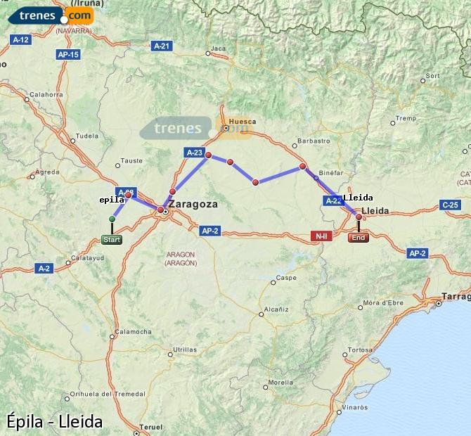 Ingrandisci la mappa Treni Épila Lleida