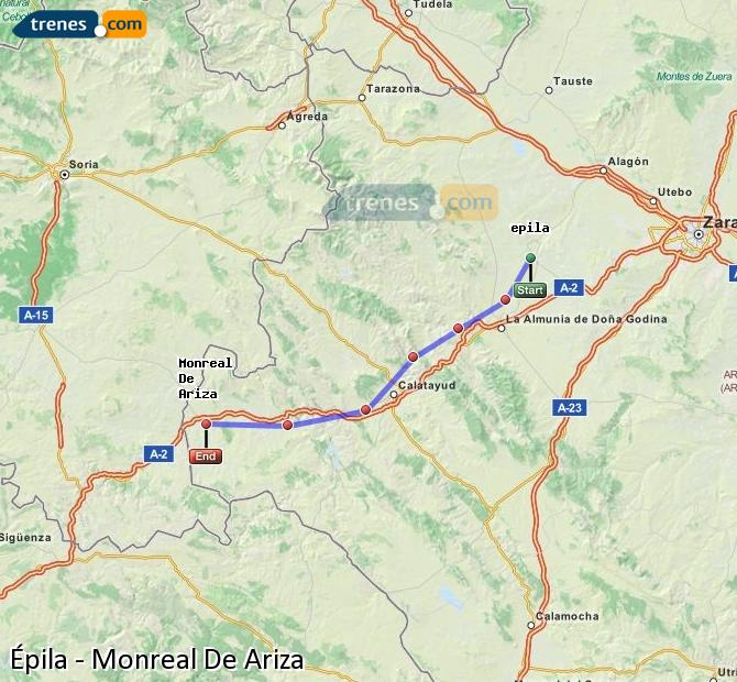 Karte vergrößern Züge Épila Monreal De Ariza