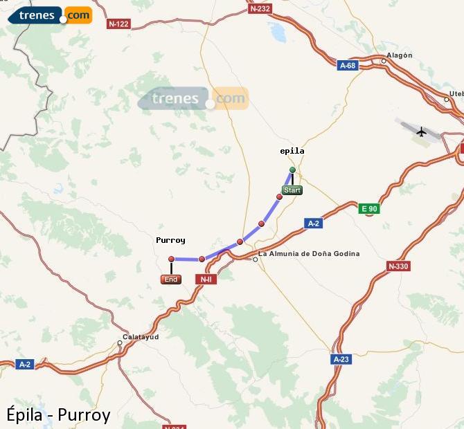Ingrandisci la mappa Treni Épila Purroy