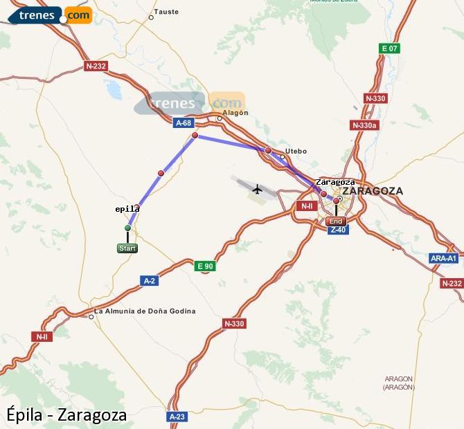 Ingrandisci la mappa Treni Épila Zaragoza