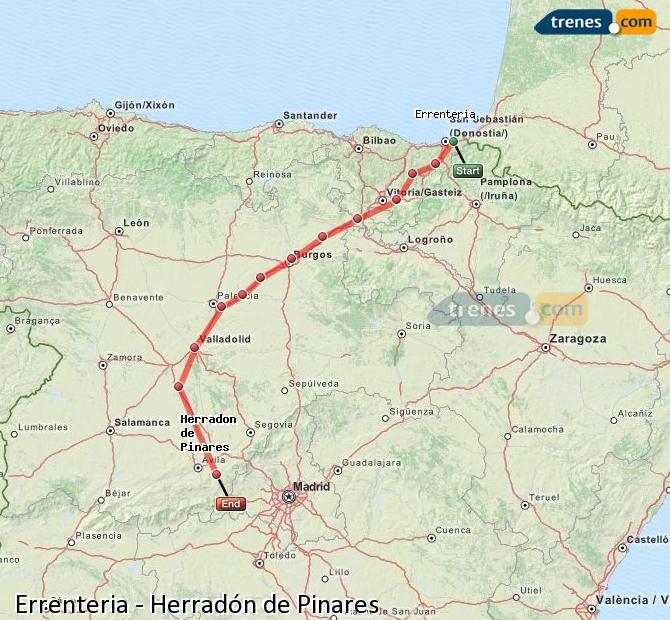 Karte vergrößern Züge Errenteria Herradón de Pinares