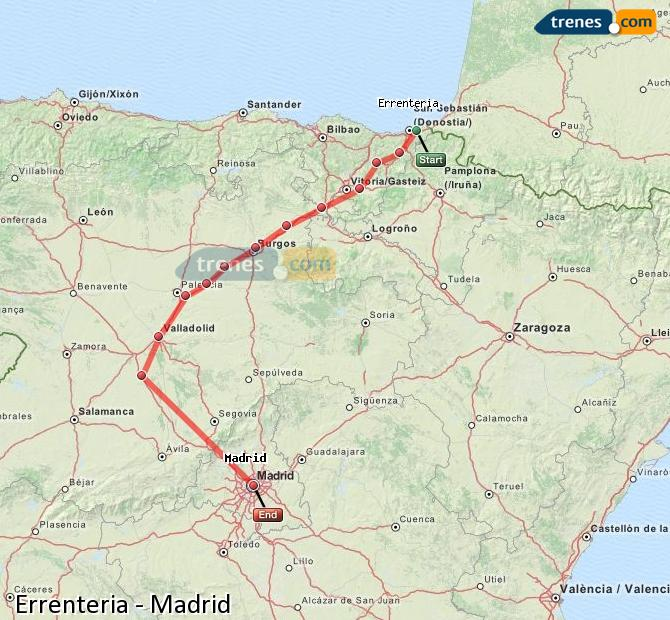 Enlarge map Trains Errenteria to Madrid