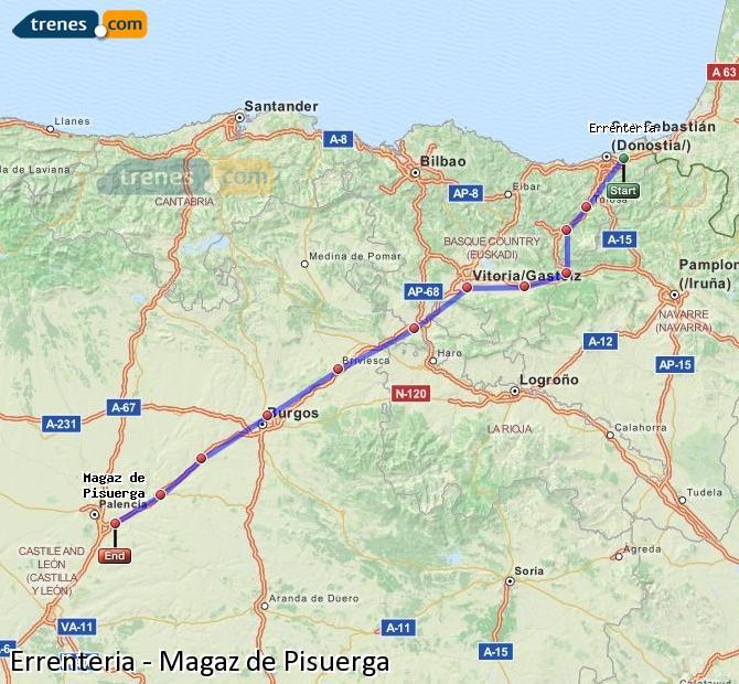 Ingrandisci la mappa Treni Errenteria Magaz de Pisuerga