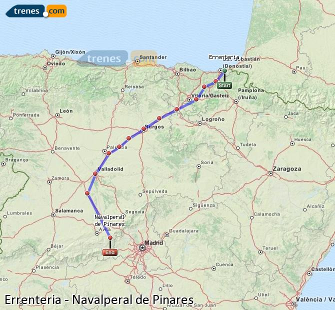 Enlarge map Trains Errenteria to Navalperal de Pinares