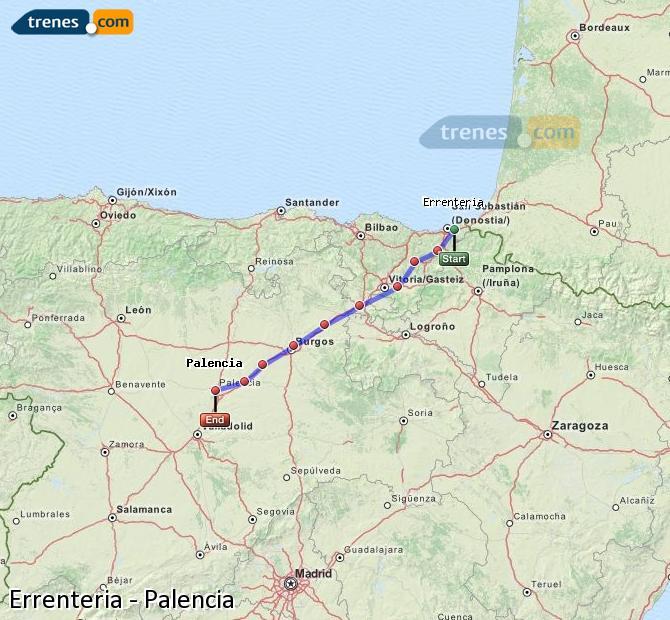 Ingrandisci la mappa Treni Errenteria Palencia