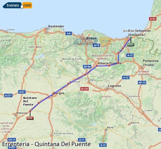 Enlarge map Trains Errenteria to Quintana Del Puente