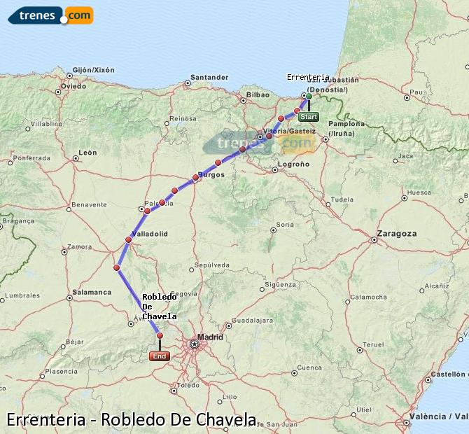 Enlarge map Trains Errenteria to Robledo De Chavela