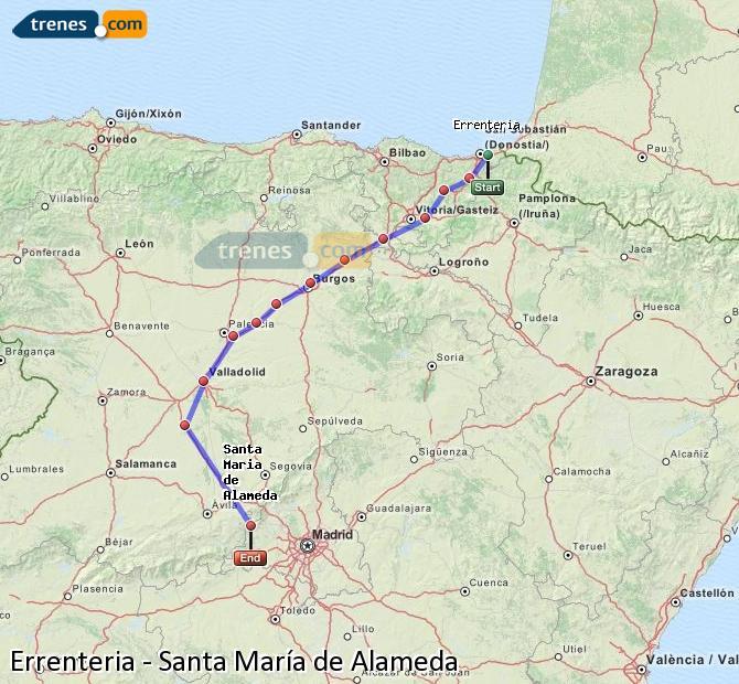Karte vergrößern Züge Errenteria Santa María de Alameda