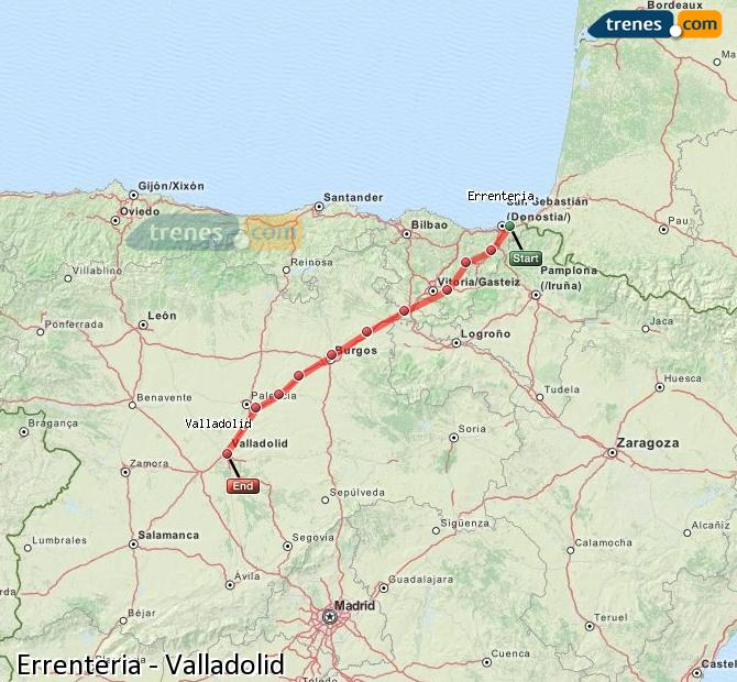 Karte vergrößern Züge Errenteria Valladolid