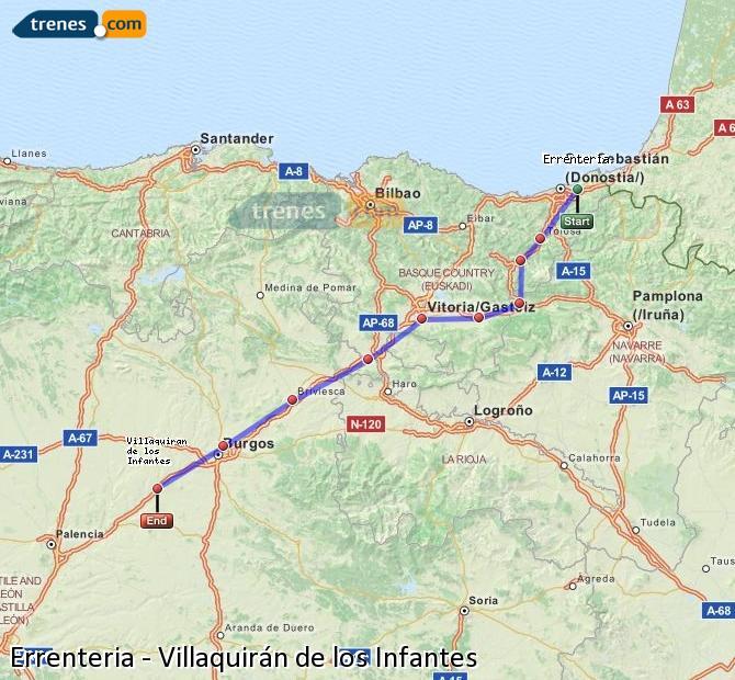 Ingrandisci la mappa Treni Errenteria Villaquirán de los Infantes