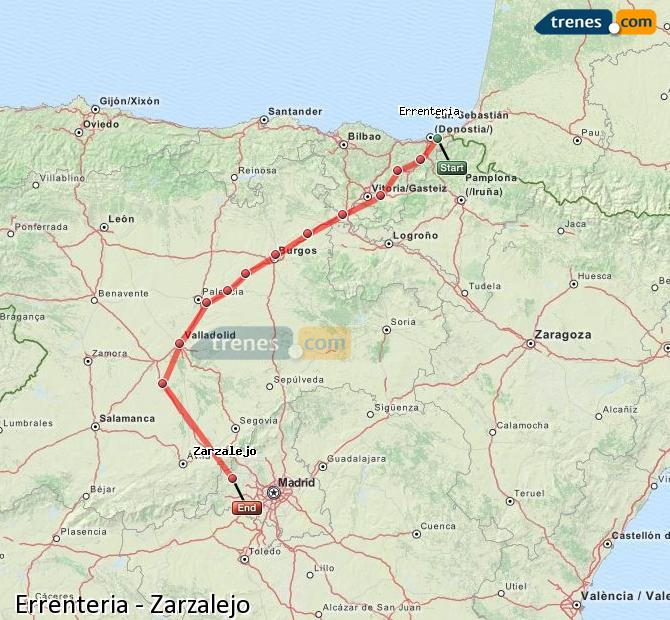 Enlarge map Trains Errenteria to Zarzalejo