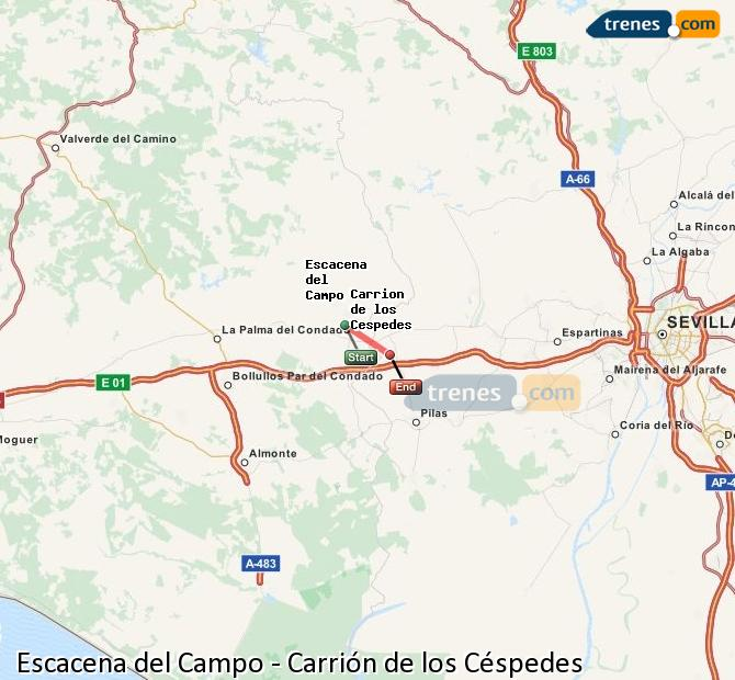 Enlarge map Trains Escacena del Campo to Carrión de los Céspedes
