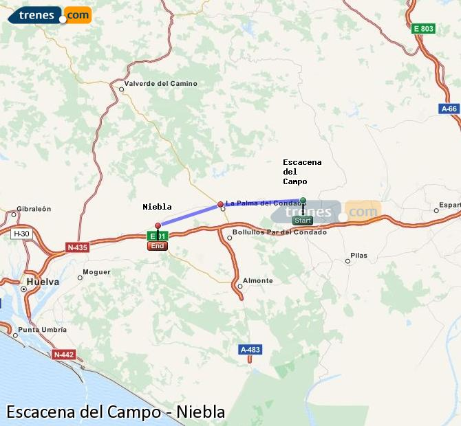 Enlarge map Trains Escacena del Campo to Niebla