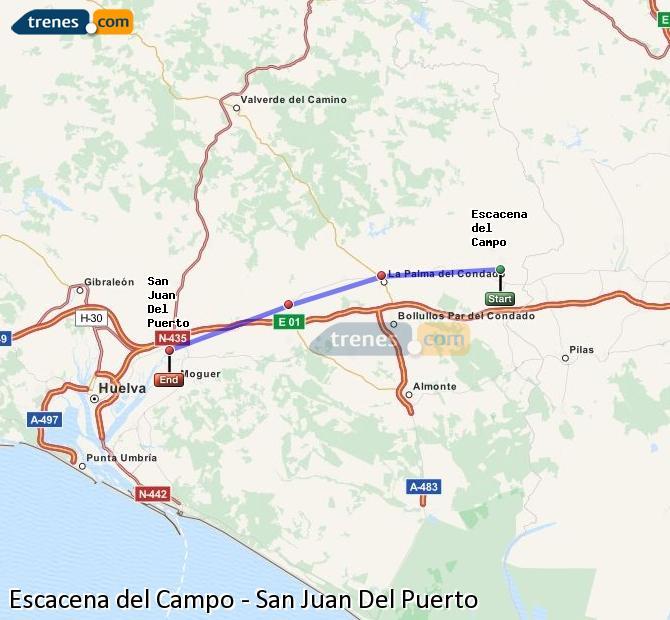 Agrandir la carte Trains Escacena del Campo San Juan Del Puerto