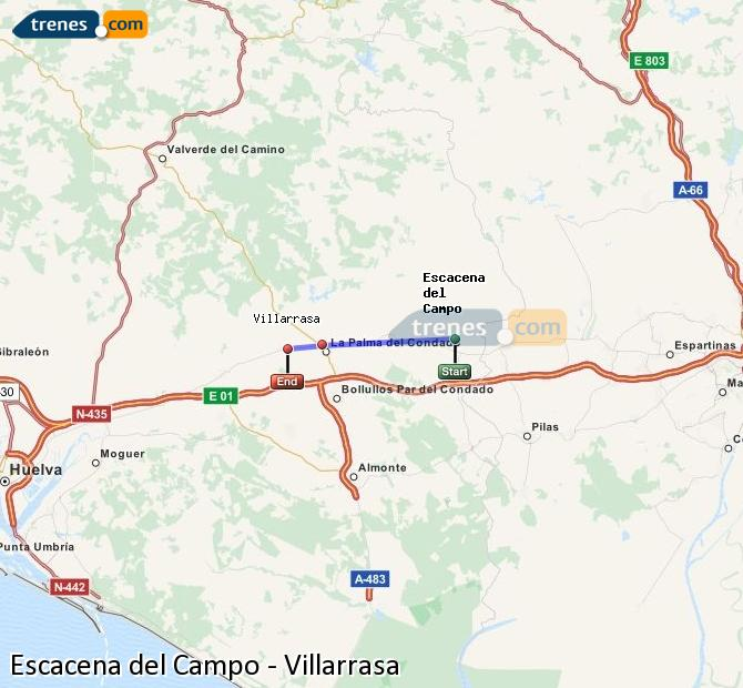 Agrandir la carte Trains Escacena del Campo Villarrasa