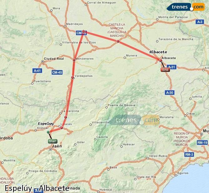 Ampliar mapa Comboios Espelúy Albacete