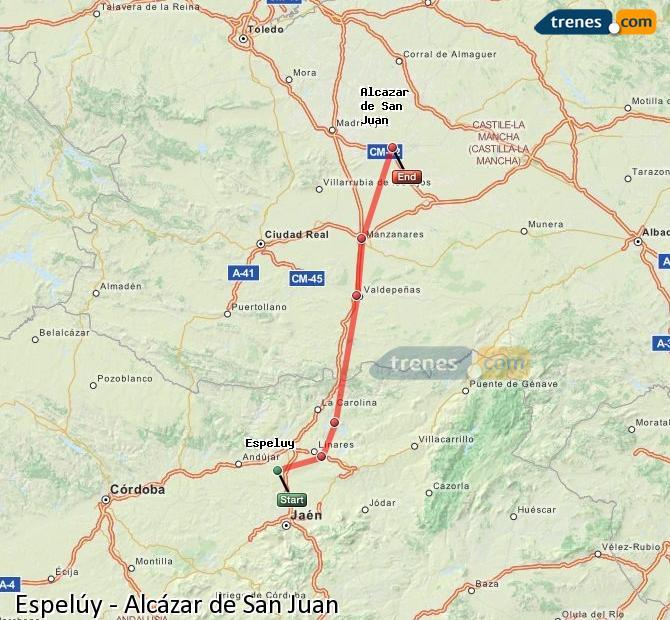 Enlarge map Trains Espelúy to Alcazar de San Juan