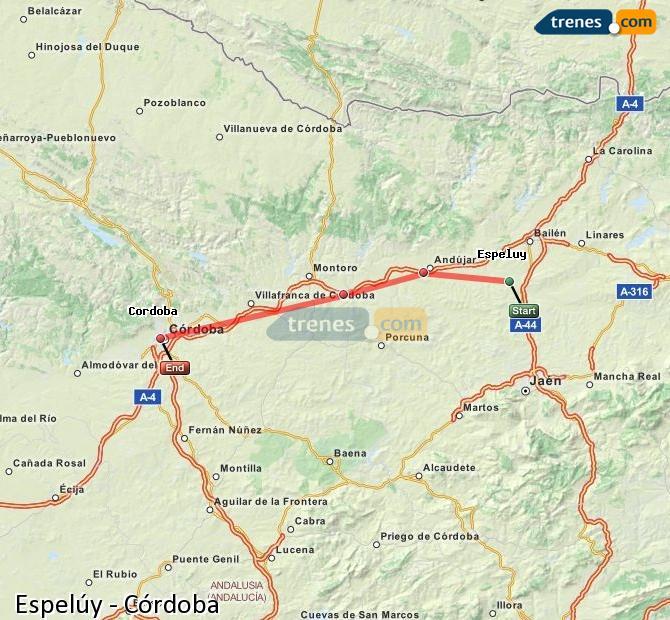 Karte vergrößern Züge Espelúy Córdoba
