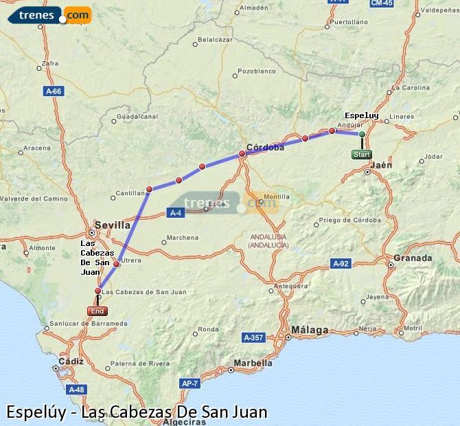 Enlarge map Trains Espelúy to Las Cabezas De San Juan