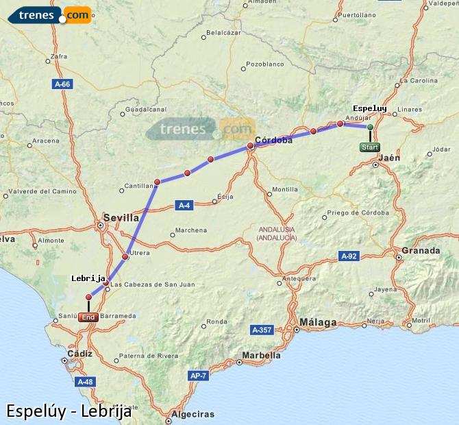 Karte vergrößern Züge Espelúy Lebrija