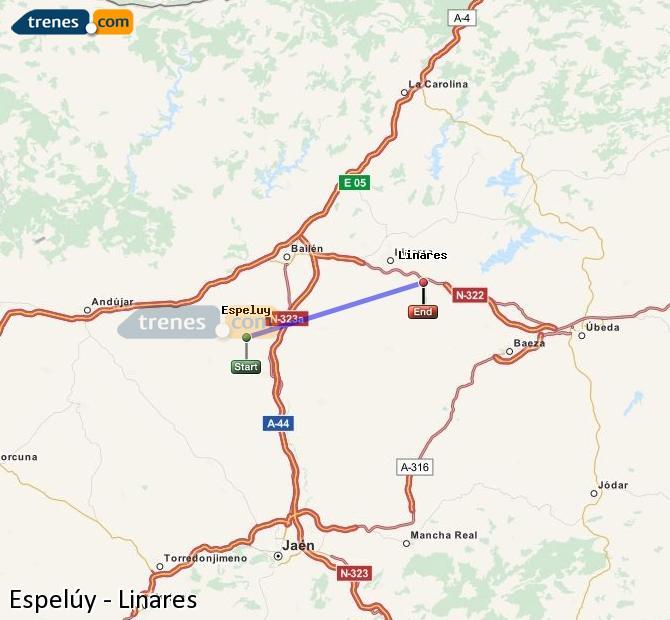 Ampliar mapa Comboios Espelúy Linares